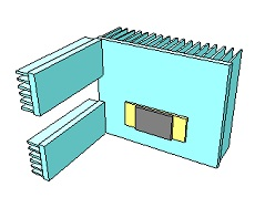 Irregular heat sink with module stackup